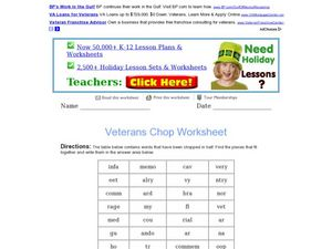 "Veterans ""Word Chop"" Worksheet"
