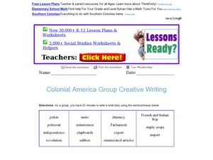 Colonial America Group Creative Writing Worksheet