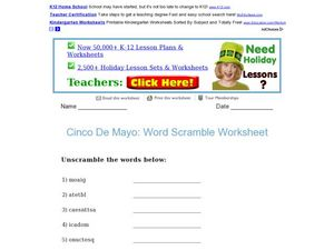 Cinco De Mayo: Word Scramble Worksheet Worksheet