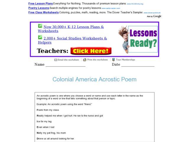 Colonial America Acrostic Poem 3rd 4th Grade Worksheet – Colonial America Worksheets