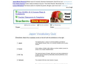 Japan Vocabulary Quiz Worksheet