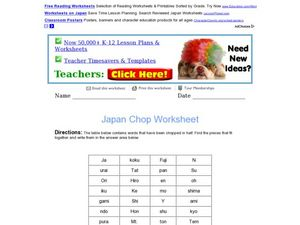 Japan Chop Worksheet Worksheet