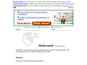 Holocaust Cryptogram Worksheet