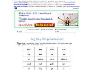 Flag Day Chopped Words Worksheet