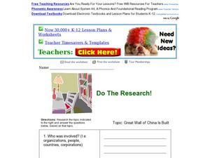 Do the Research! Great Wall of China Worksheet
