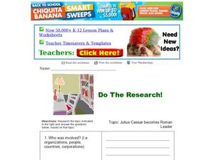 Do the Research! Julius Caesar Becomes Roman Leader Worksheet