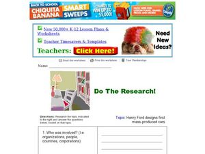 Do the Research! Henry Ford Worksheet