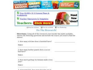 Do The Research! (Trivia Questions) Worksheet