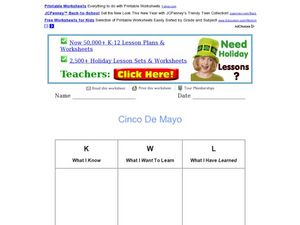 Cinco De Mayo: KWL Chart Worksheet