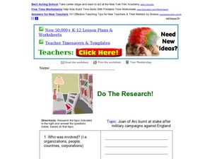 Do the Research! Joan of Arc Worksheet