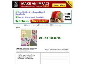 Do The Research! John Cabot Worksheet