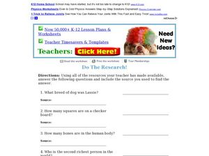 Do the Research! Research Activity Worksheet
