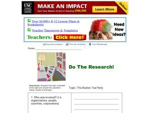 Research: The Boston Tea Party Worksheet