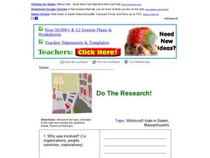 Do the Research! Salem Witchcraft Trials Worksheet