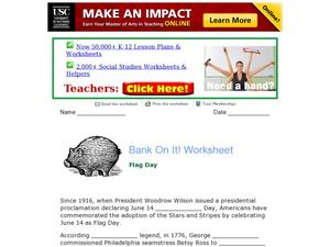 Bank On It! Worksheet: Flag Day Worksheet