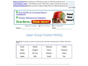 Japan Group Creative Writing Worksheet