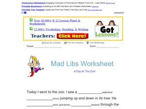 Mad Libs Worksheet: A Day at the Zoo Worksheet