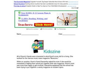 Reading Comprehension: Kidozine Worksheet