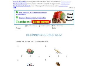 Beginning Sounds Quiz Worksheet