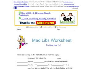Mad Lib: The Great New Toy! Worksheet