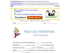 Mad Libs; My Trip To Disney World Worksheet