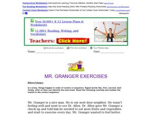 Mr. Granger Exercises: Order of Events Worksheet