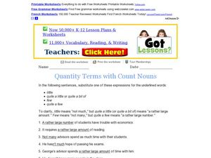 Quantity Terms With Count Nouns Worksheet