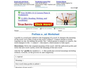 "Prefixes ""a-"" and ""ad-"" Worksheet"