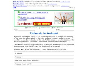 Prefixes: ab- and be- Worksheet