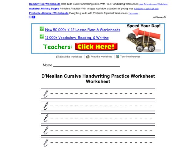 D 39 Nealian Cursive Handwriting Practice Worksheet Worksheet