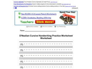 D'Nealian Cursive Handwriting Practice Worksheet: lower case n Worksheet