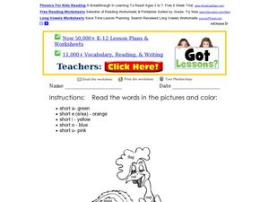 Coloring A Short Vowel Picture Worksheet