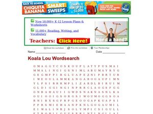 Koala Lou Word Search Worksheet
