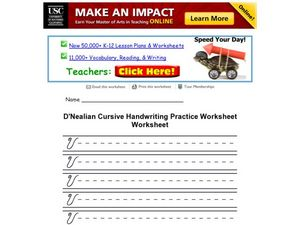 D'Nealian Cursive Handwriting Practice Worksheet- Upper Case Letter V Worksheet
