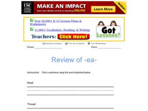 "Review of ""-ea-"" Worksheet"