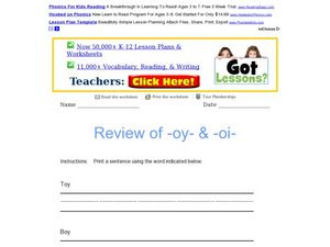"Review of ""oy"" and ""oi"" Worksheet"