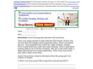 Reading Comprehension Paragraph Worksheet