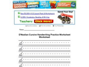 D'Nealian Cursive Handwriting Practice Worksheet: Lowercase d Worksheet