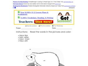 Long Vowel Coloring Activity Worksheet