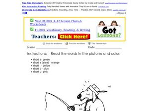 Short Vowels Coloring Page Worksheet