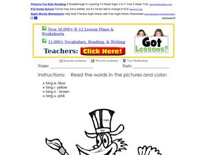 Long Vowel Words in a Coloring Picture Worksheet