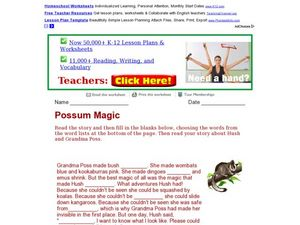 Possum Magic: Cloze Paragraph Worksheet