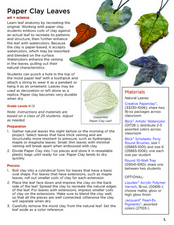 Paper Clay Leaves Lesson Plan