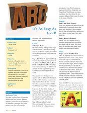 ABC It's as Easy as 1-2-3! Lesson Plan