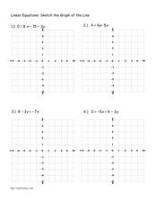 Linear Equations: Sketching Graphs of Lines Worksheet
