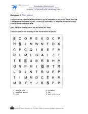 Helen Keller: Word Search 3rd - 4th Grade Worksheet | Lesson Planet