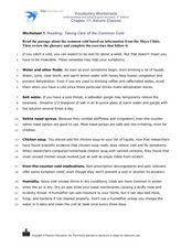 Reading: Taking Care of the Common Cold Worksheet