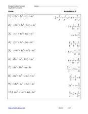 Dividing Polynomials #3 Worksheet