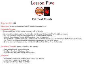 Fat Fast Foods Lesson Plan