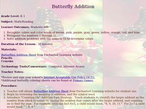 Butterfly Addition: Color by Numbers Lesson Plan